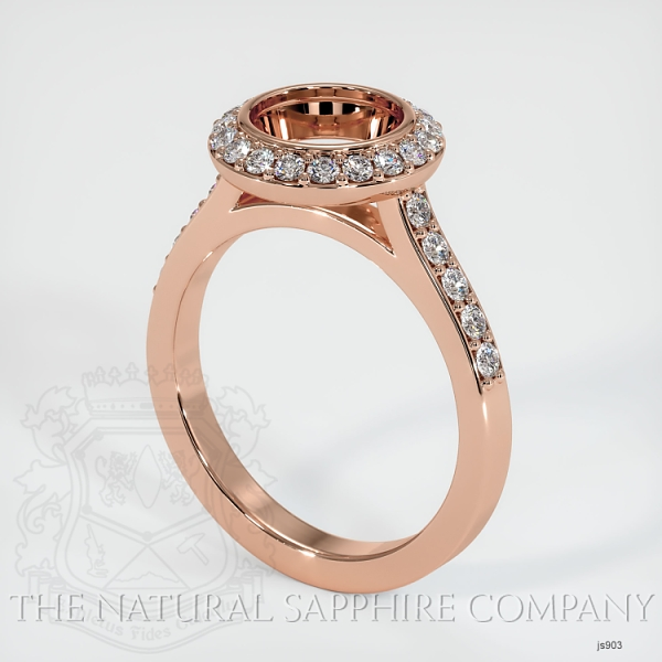 Bezel Set Pave Diamond Halo Ring Setting JS903 Image