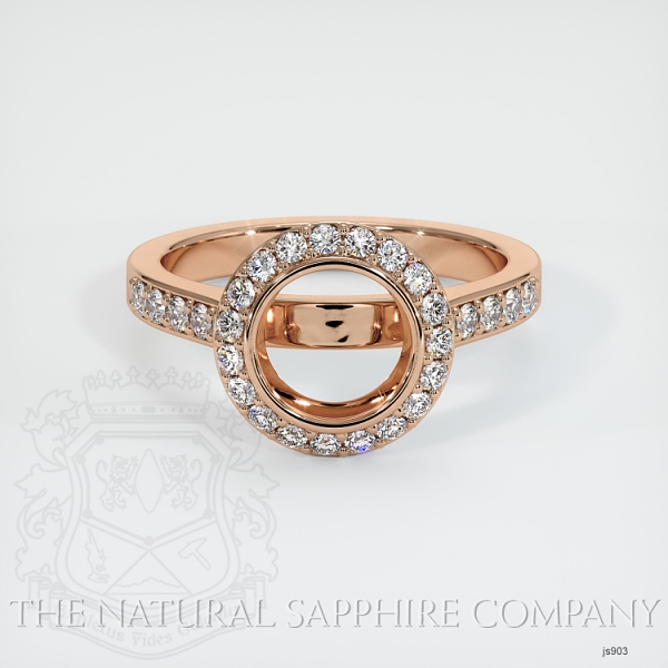 Bezel Set Pave Diamond Halo Ring Setting JS903 Image 2
