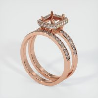 14K Rose Gold Pave Diamond Ring Setting - JS906R14