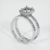 18K White Gold Pave Diamond Ring Setting - JS906W18