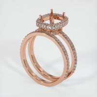 14K Rose Gold Pave Diamond Ring Setting - JS907R14