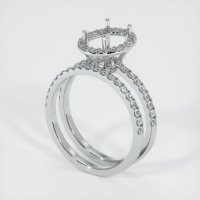 18K White Gold Pave Diamond Ring Setting - JS908W18