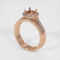 18K Rose Gold Pave Diamond Ring Setting - JS923R18