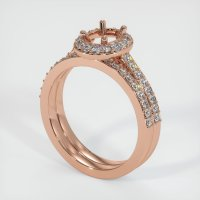14K Rose Gold Pave Diamond Ring Setting - JS925R14