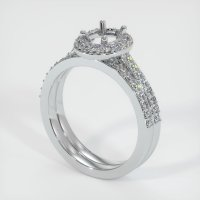 14K White Gold Pave Diamond Ring Setting - JS925W14
