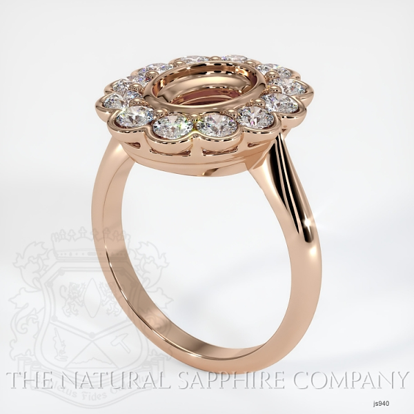 Antique Floral Halo Bezel Ring Setting JS940 Image