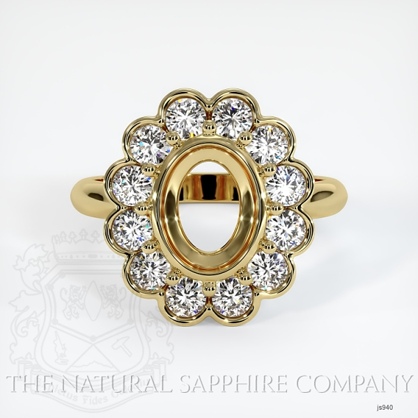 Antique Floral Halo Bezel Ring Setting JS940 Image 2
